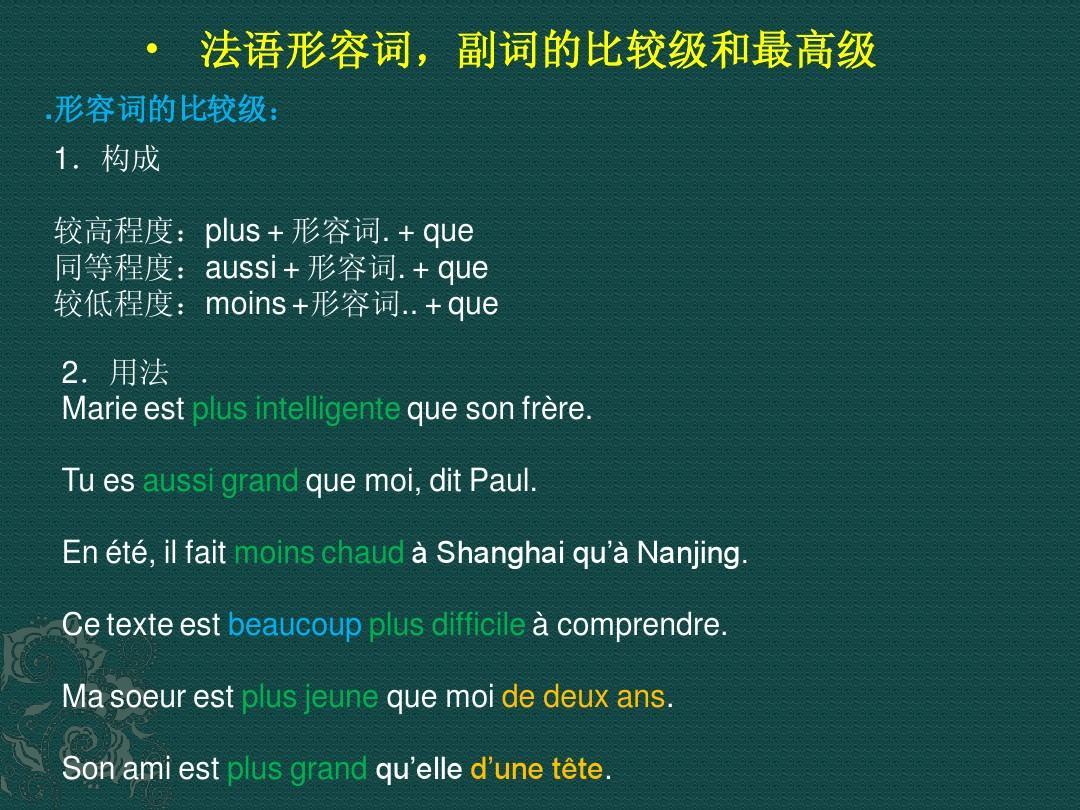 高级英语词汇表_法语之形容词,副词比较级和最高级PPT_word文档在线阅读与下载_无 ...