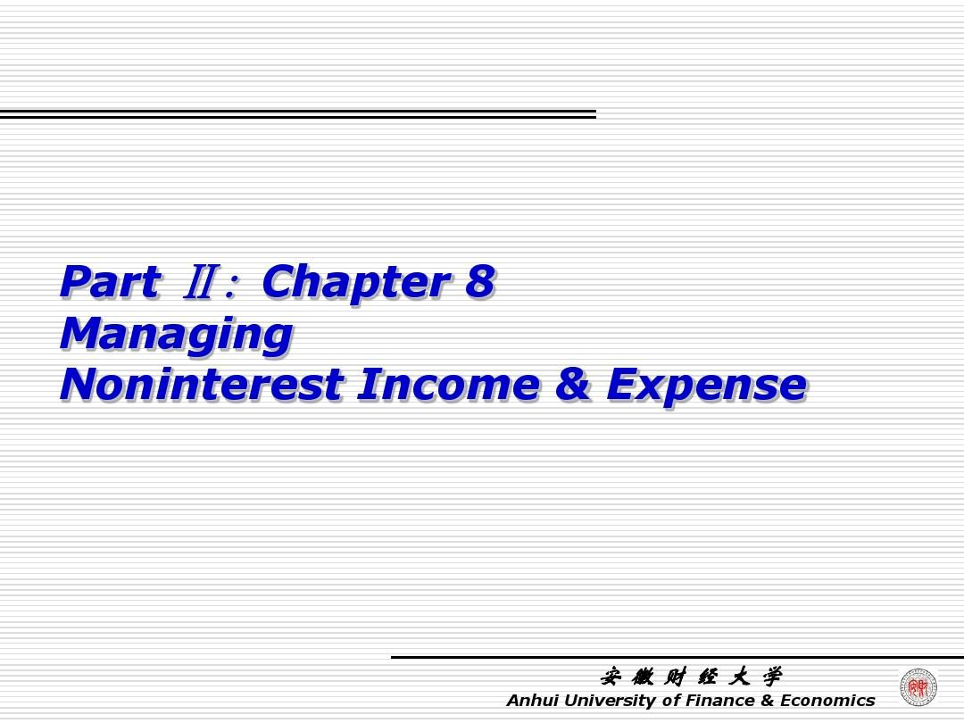 chapter 8 managing noninterest income and expense