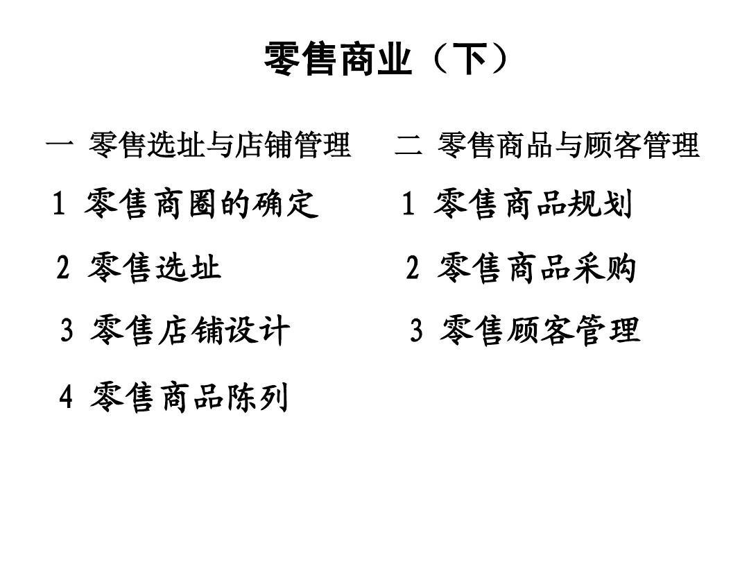 零售商业店铺选址开发营运管理商品陈列(下)PPT