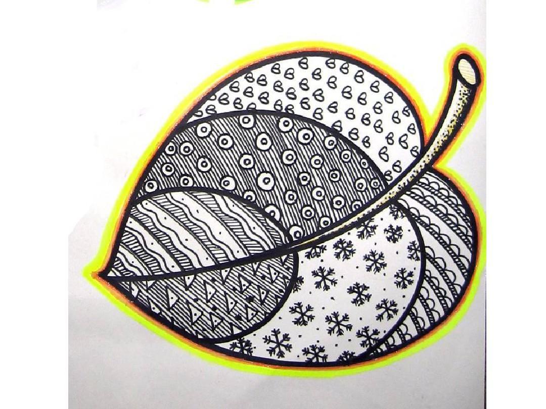 儿童画教学 线描画中的黑白对比 线描装饰画 装饰画教学 植物写生图片