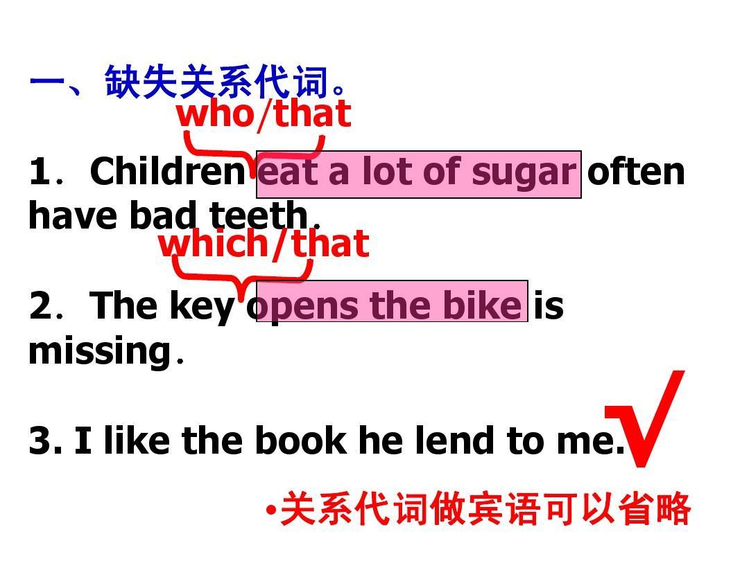 定语从句改错题PPT