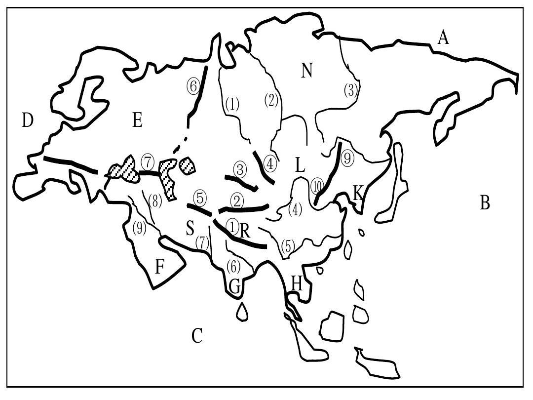 亚洲地形图手绘_亚洲概况(2011年9月26日)ppt
