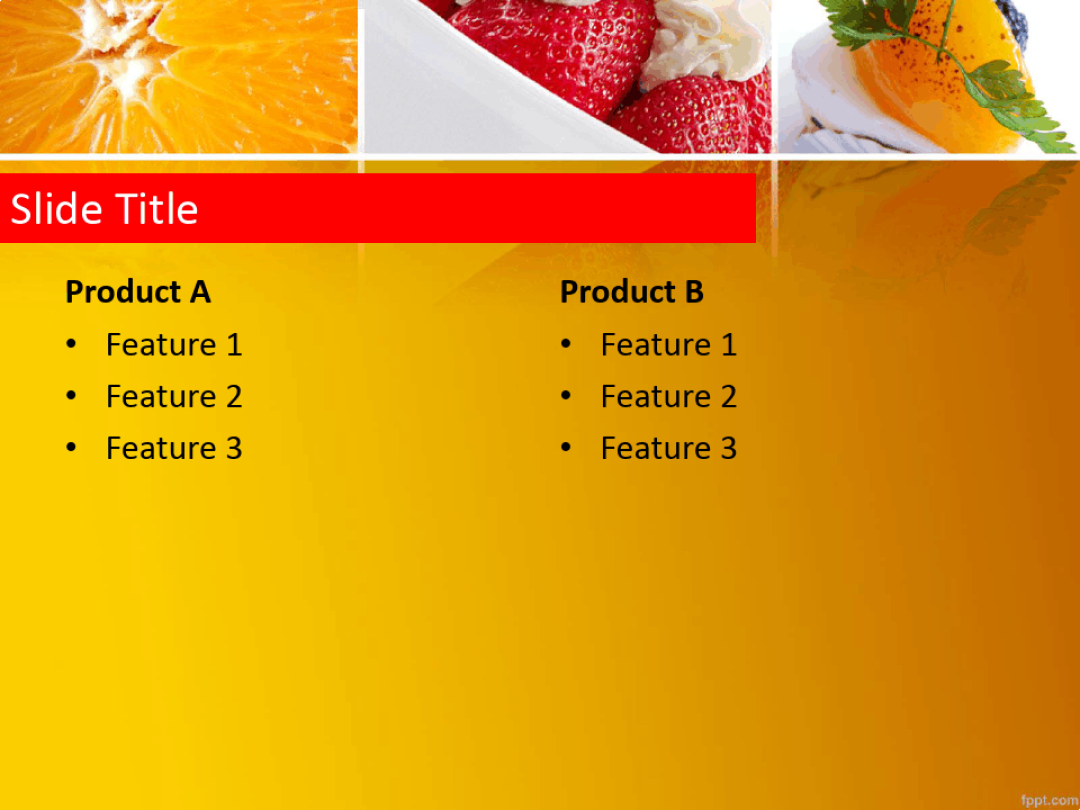 健康饮食主题的草莓水果沙拉ppt模板