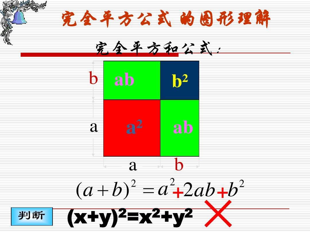 初中教育 数学 初二数学 完全平方公式ppt课件  完全平方公式 的图形图片