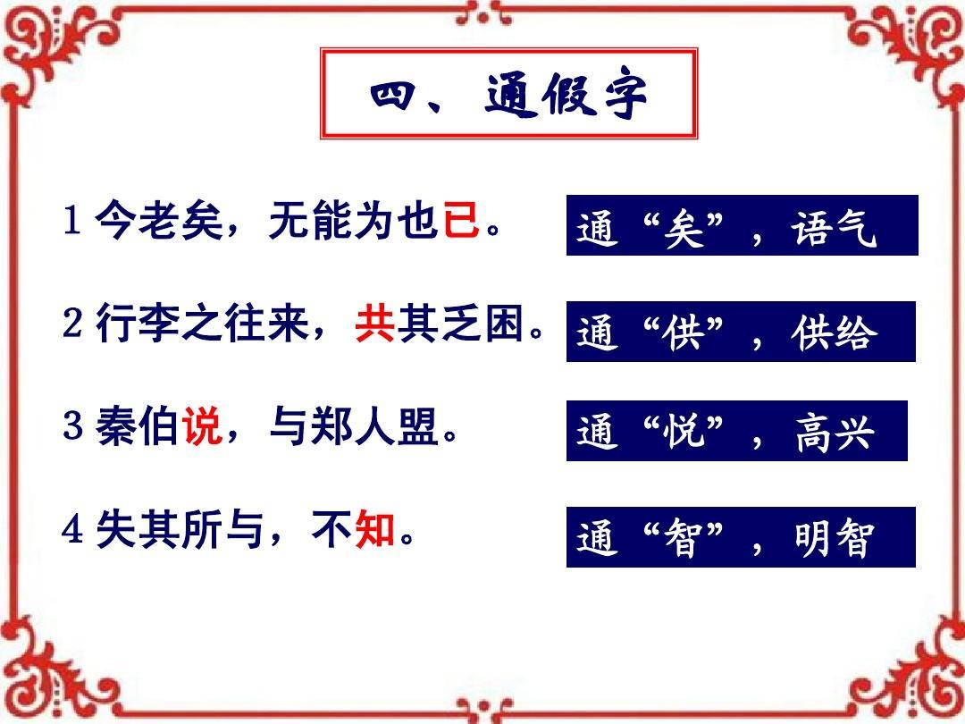 词语句式总结模板ppt  《烛之武退秦师》词语句式总结模板 四,通假字图片