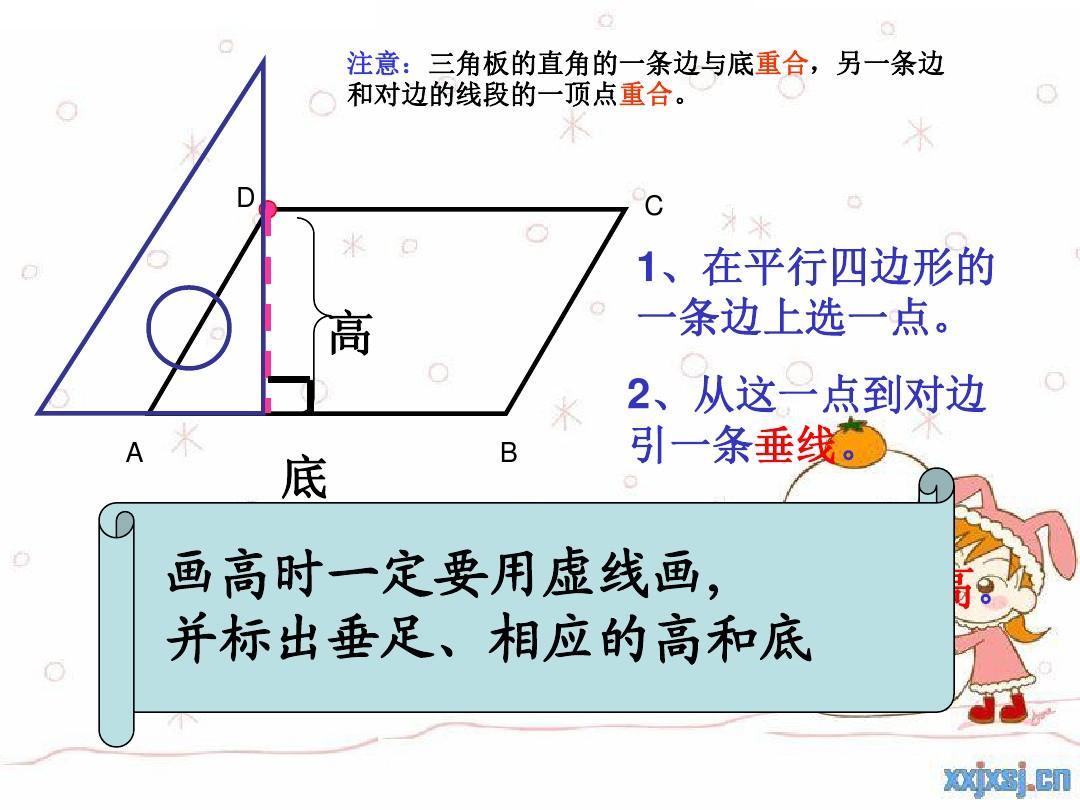 人教版四年级上册平行四边形高的画法.图片