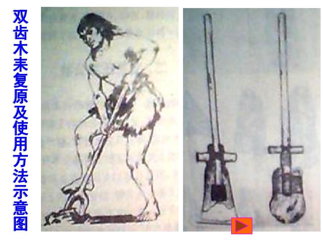 双 齿 木 耒 复 原 及 使 用 方 法 示 意