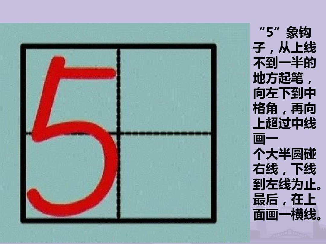 数字1——10的书写ppt图片