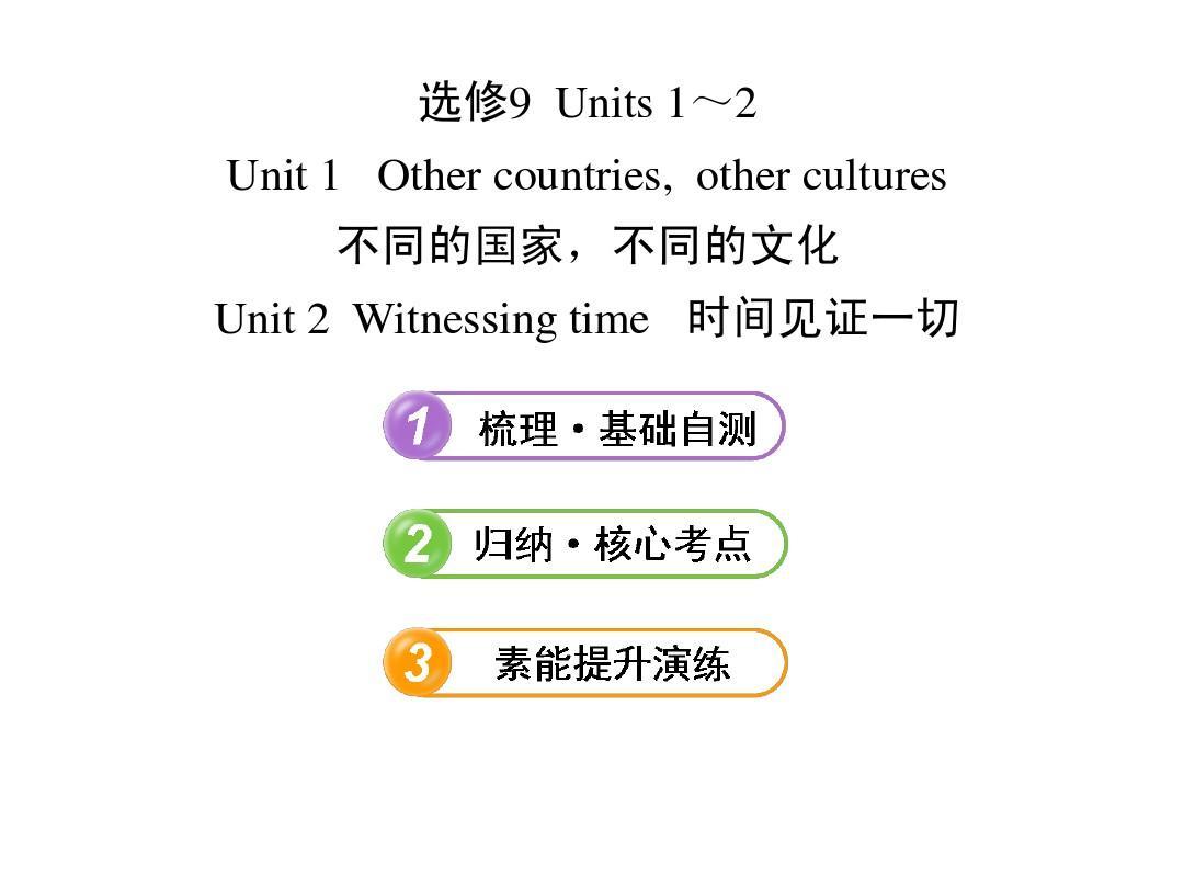 【江苏】2013版高中英语全程复习方略 课件:选修9 Units 1~2(译林牛津版)