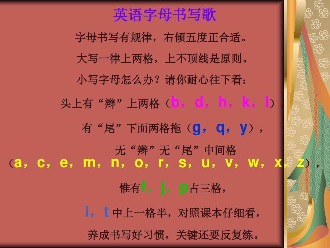 精准26个英语字母的书写格式ppt图片