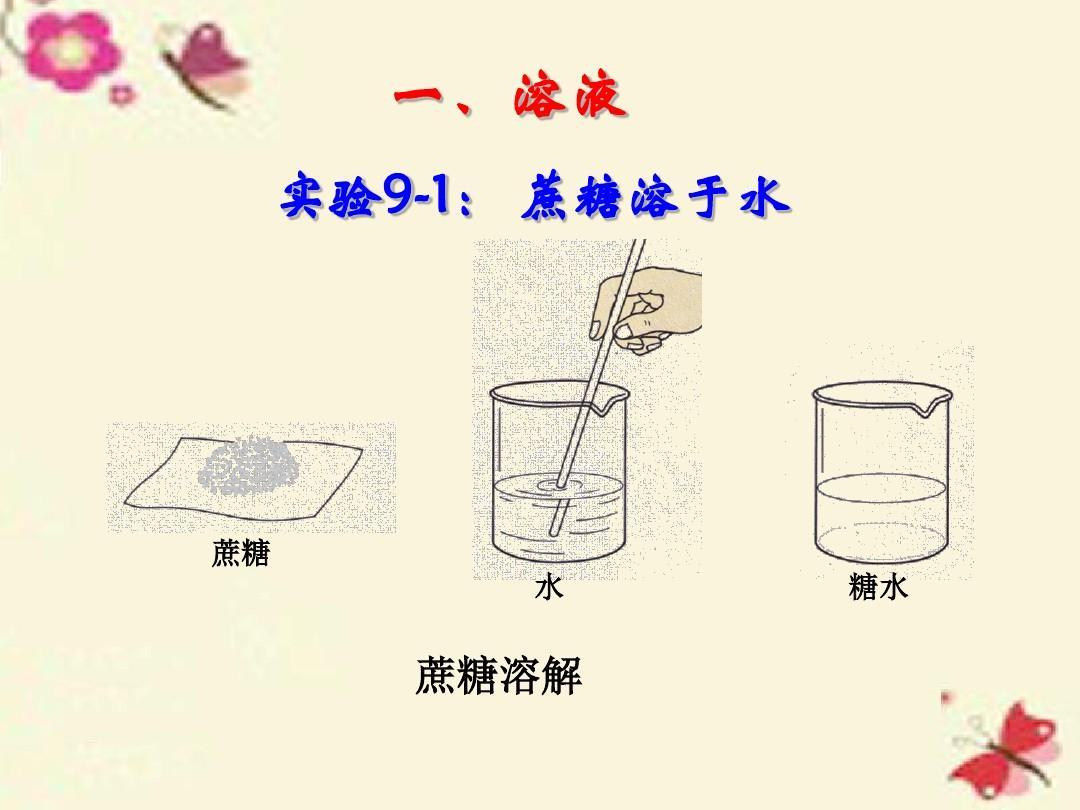 一,溶液 实验9-1: 蔗糖溶于水