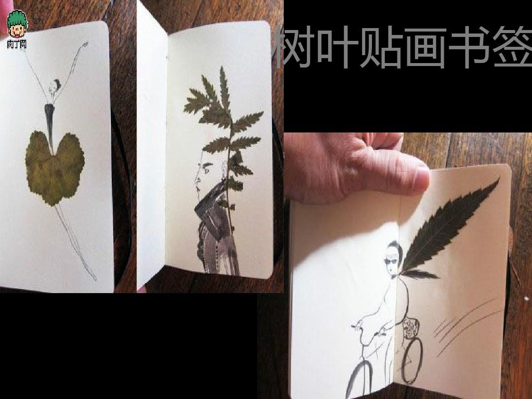 树叶贴画书签图片