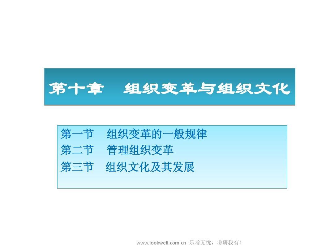北京邮电大学管理学课件-组织变革与组织文化PPT
