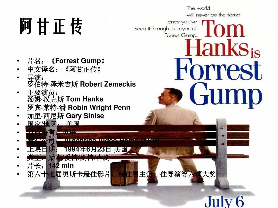 片名:《forrest gump》 中文译名:《阿甘