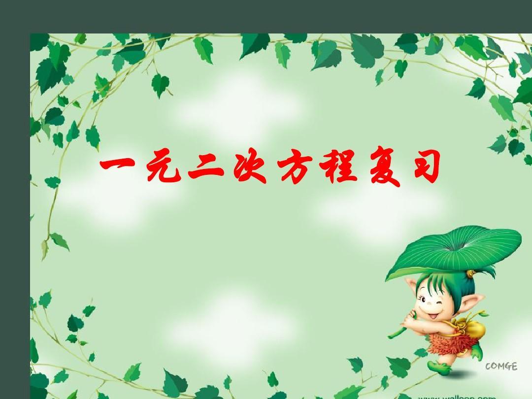 江苏省姜堰市大伦中学九年级数学下册《一元二次方程》复习课件 新人教版