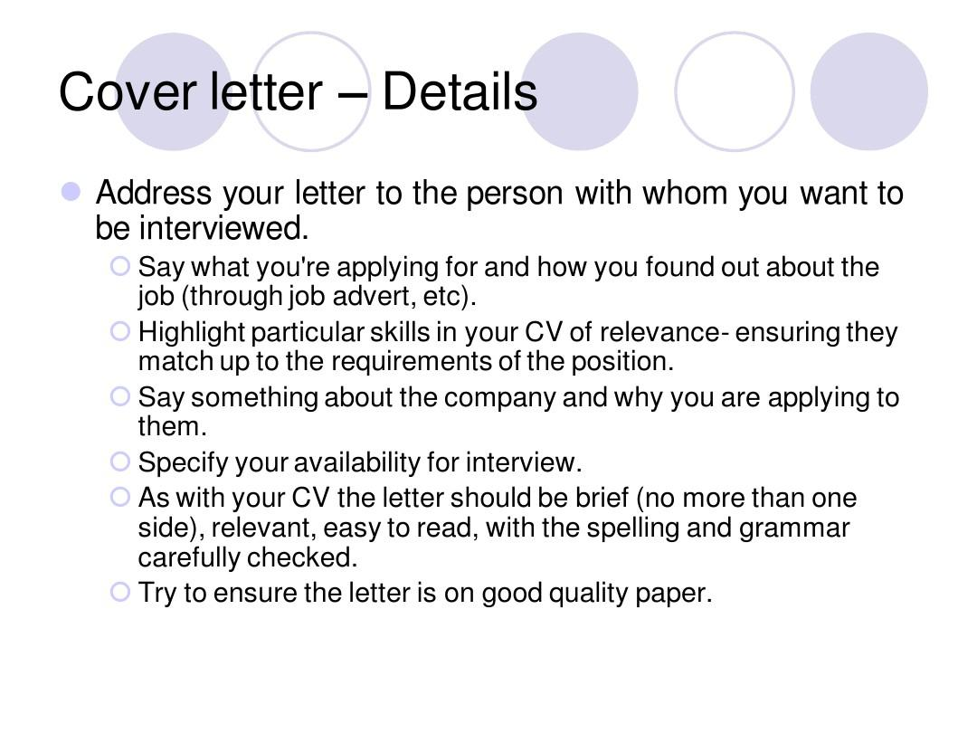 writing a good cv and cover letterppt