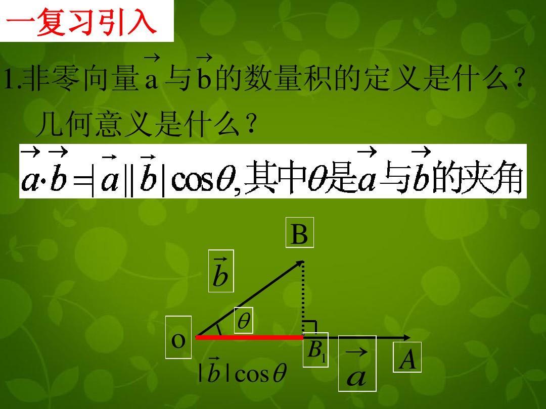 高中数学 2.4平面向量数量积课件 新人教版必修