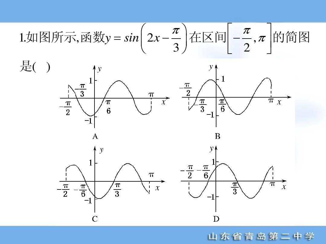 如图所示,函数y = sin     x     在区间       π   的简图图片