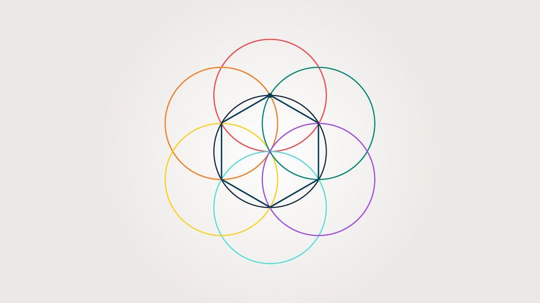多彩六边形 创意简约商务演示汇报ppt模板图片