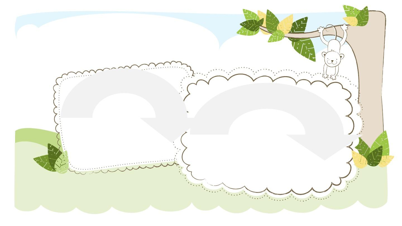 矢量卡通自然小清新可爱儿童相册ppt模板图片
