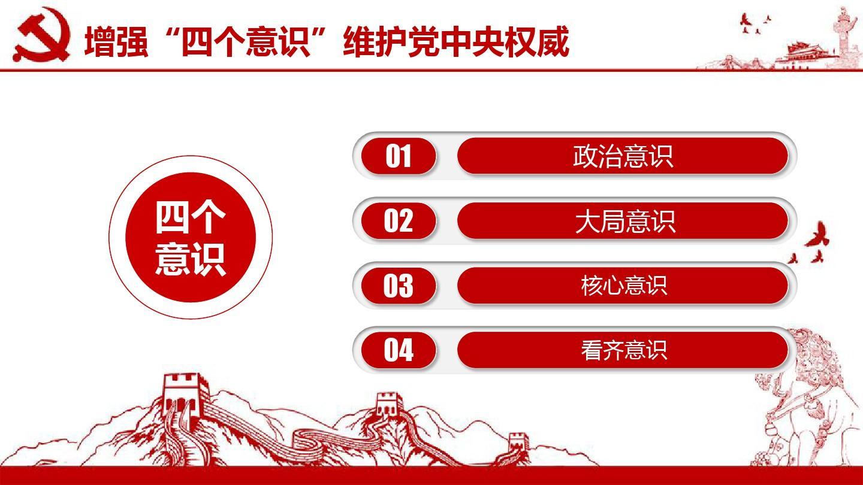 """增强""""四个意识""""维护党中央权威ppt模板图片"""