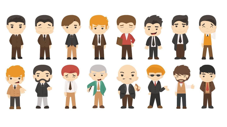 ppt格式扁平化卡通人物矢量素材图片