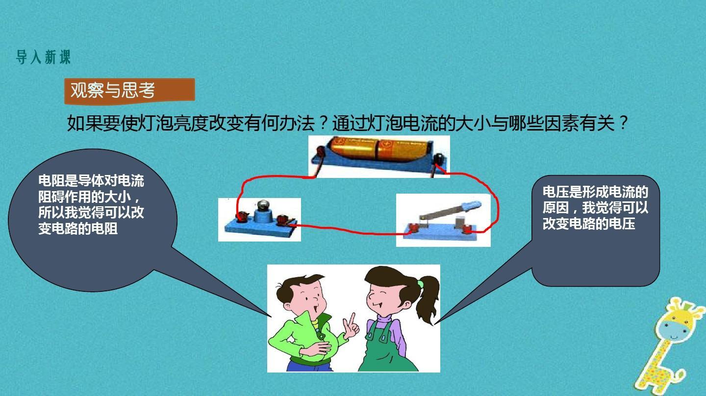 九年級課件全冊17.1《物理與電壓和初中的關系》電阻上海位育電流圖片