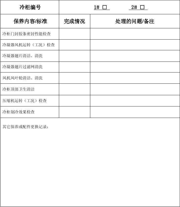 中厨房四门冷柜保养记录表