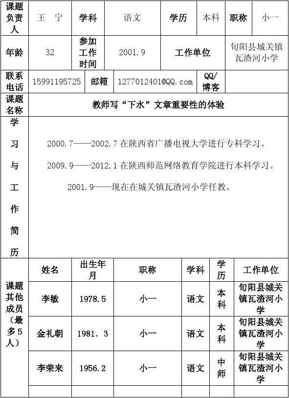 2013 年度小课题申请表(城关中心校.瓦渣河)