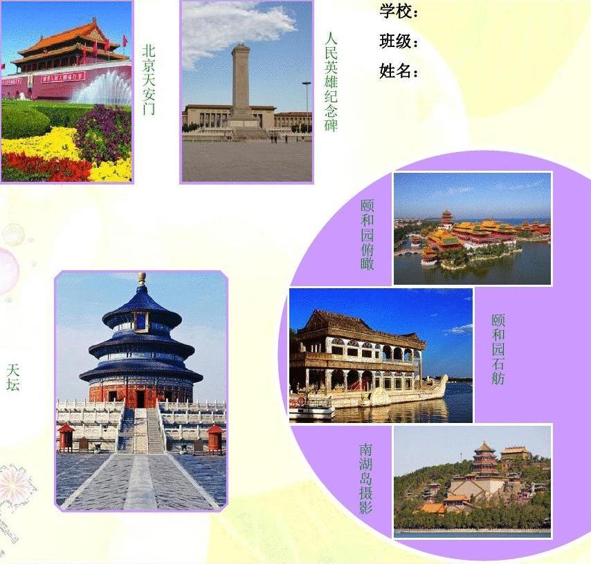 暑假北京快乐游旅游电子小报游记电脑手抄报模板旅行导游游览景点风光