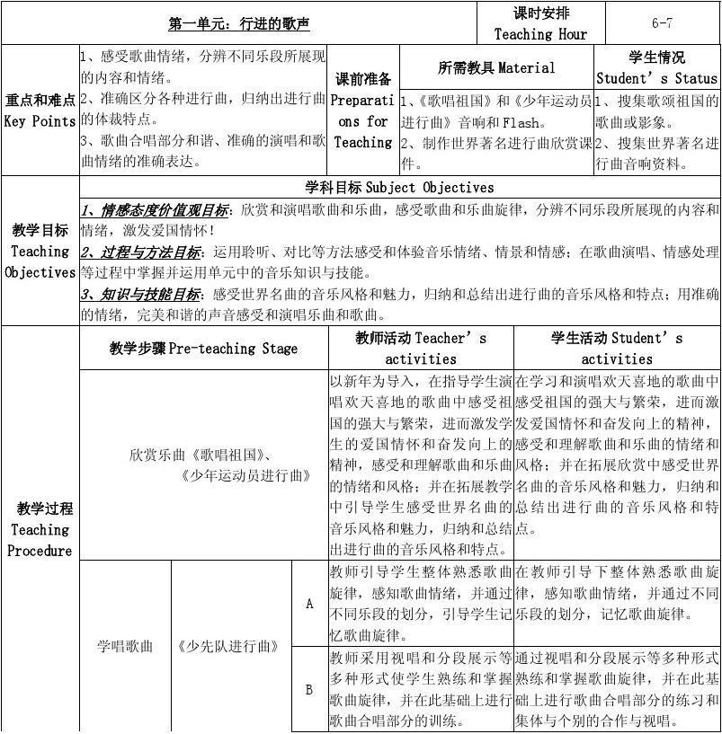 Bilingual Teaching Plan