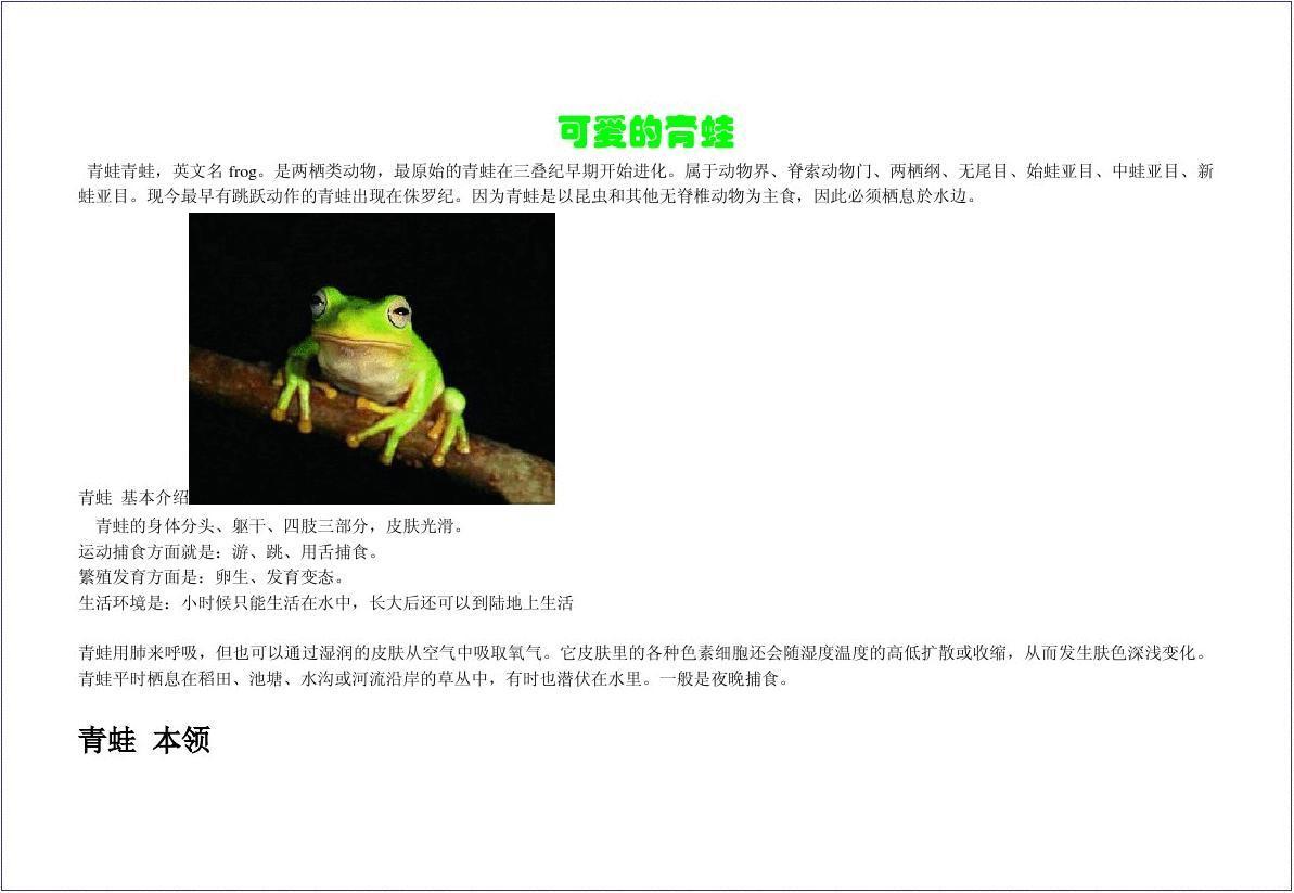 青蛙手抄报图片