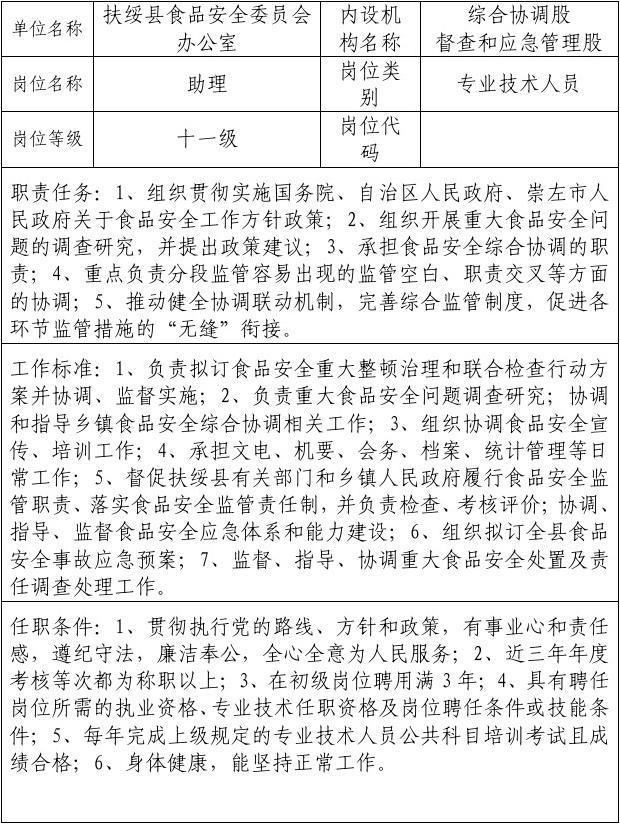 11广西壮族自治区事业单位岗位说明书(表样)