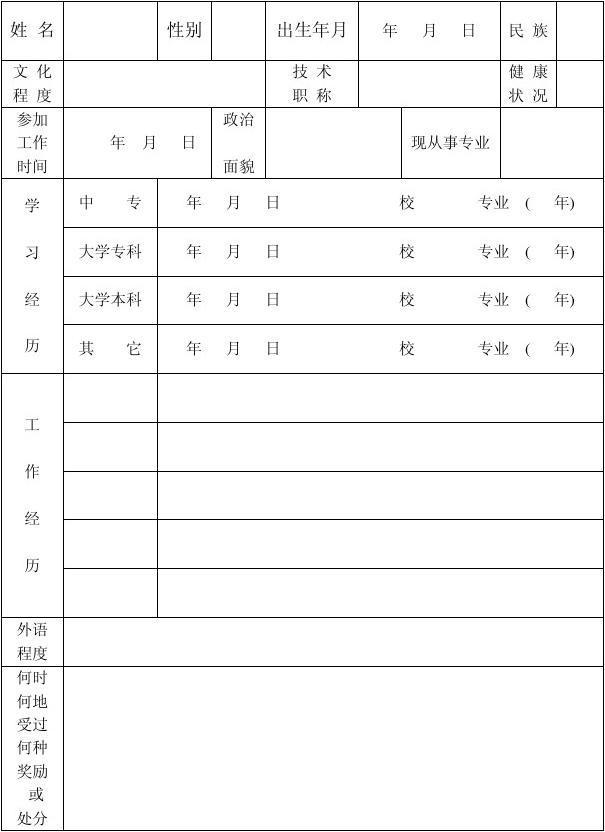 专业技术人员档案表
