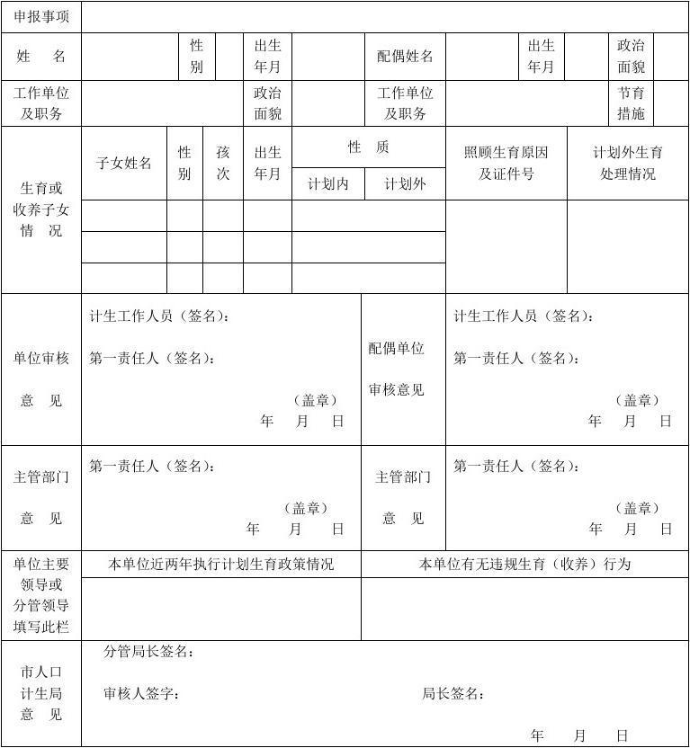 忻州市计划生育情况审核登记备案表(个人)