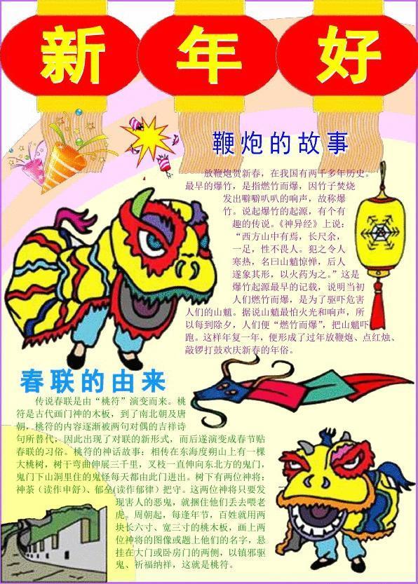新年好笑脸迎新年新年春节电子小报欢度春节手抄报模板简报传统节日板