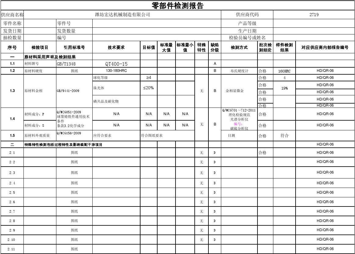 QT400零部件检测报告模板