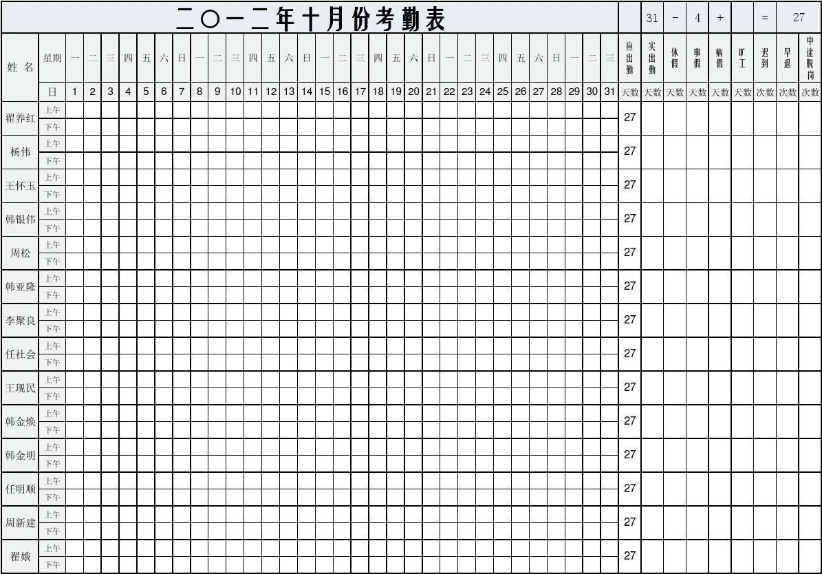 员工考勤表(自动计算日期_工作日_统计实际出勤...)