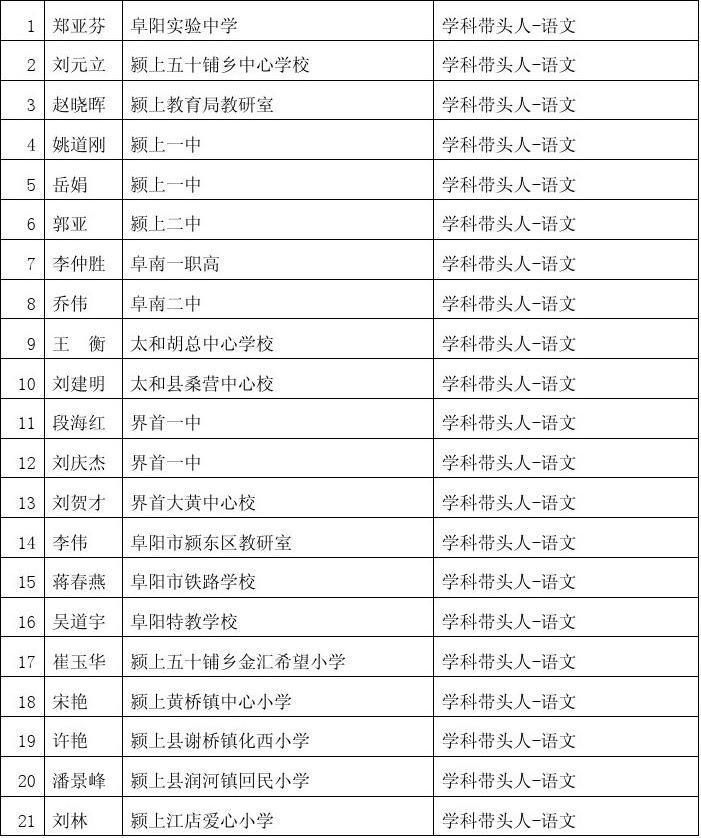安徽省阜阳市第三批学科带头人骨干教师名单