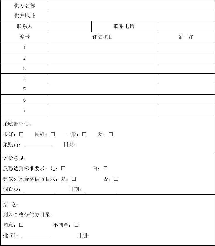 供应商评估记录表