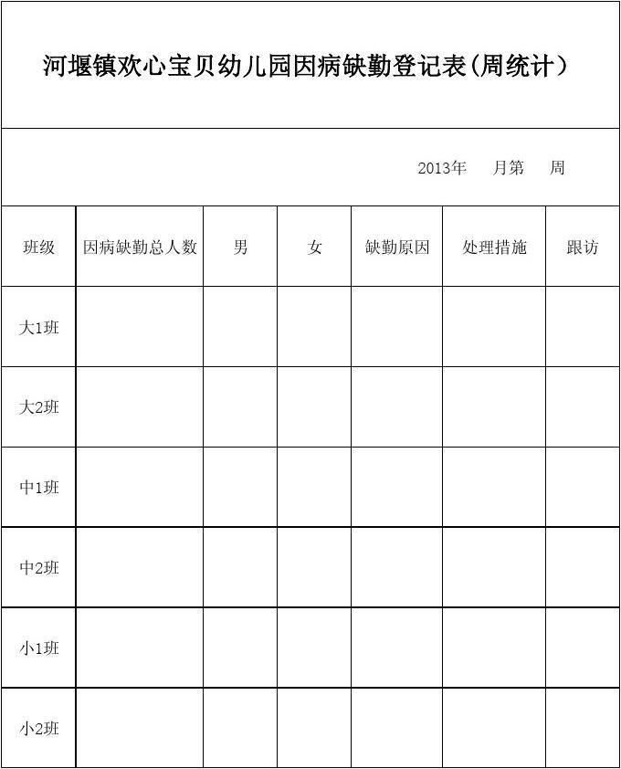 幼儿园接送登记表_幼儿园因病缺勤登记记录表_文档下载