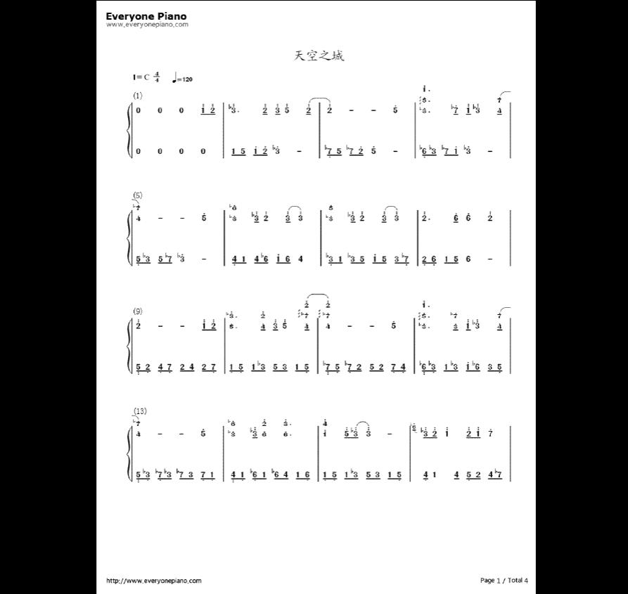 天空之城钢琴谱 吉他谱简单图片