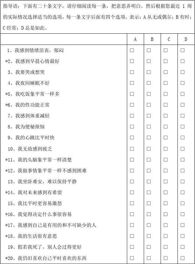 抑郁自评量表(SDS)