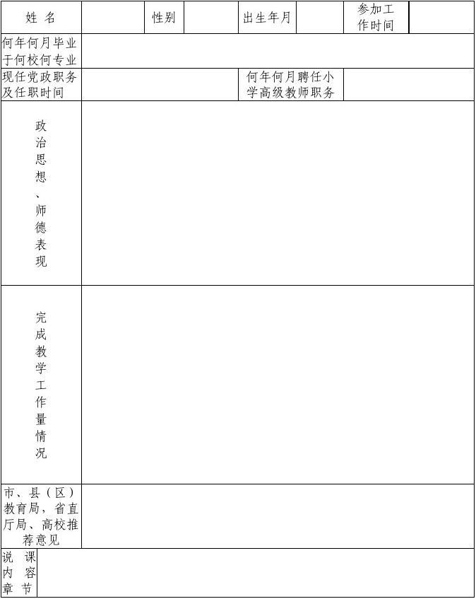 评审中学高级教师职务任职资格表