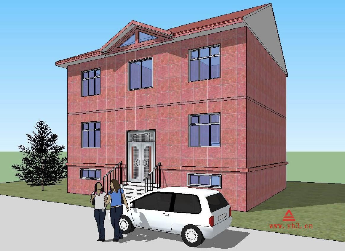 5x10.2 三层农村自建旅馆双拼住宅设计图建筑结构图外观图图片