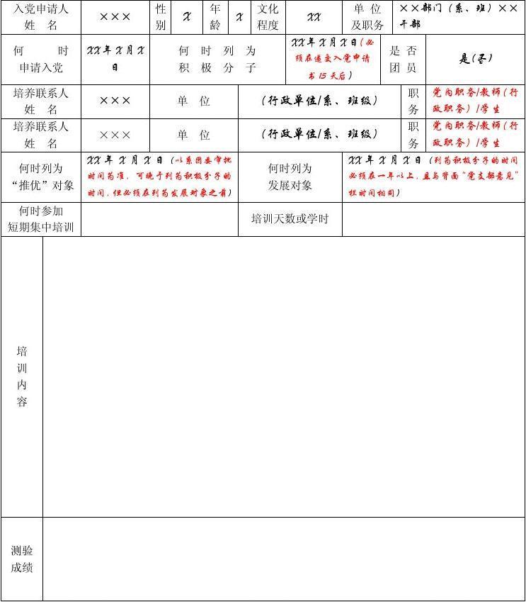 入党积极分子所有登记表意见(范文)考察多少汉滨区初中图片