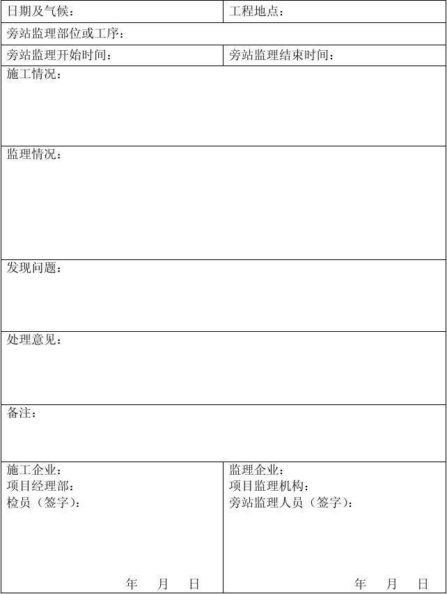 空白 旁 站 监 理 记 录 表3#楼