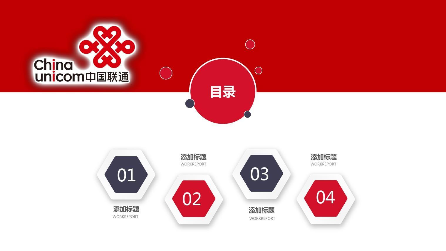 中国联通通信行业年终工作总结模版PPT通用模