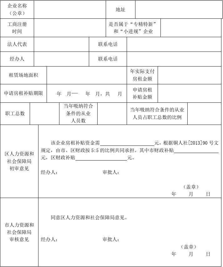 创业园区外创业场地房租补贴申请表