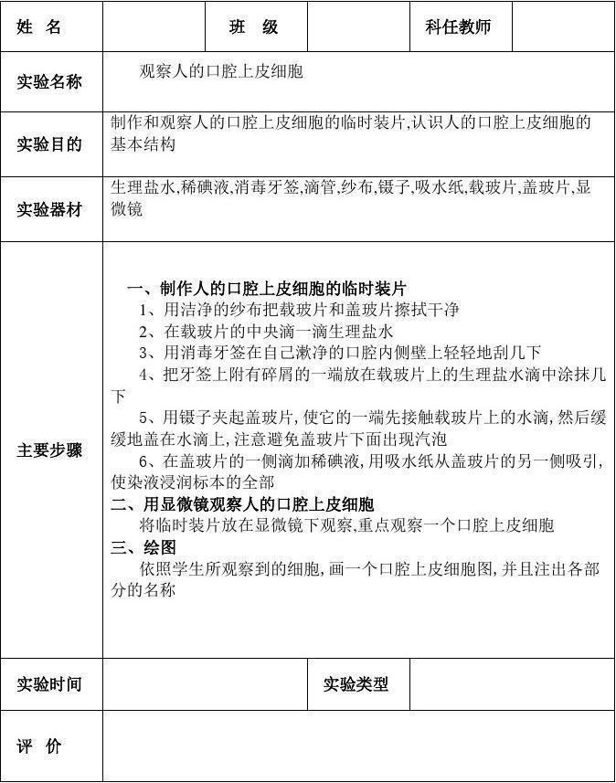 生物作文分组报告单(实验)初中生初中全方位图片